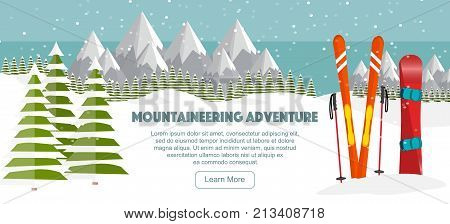 Ski snowboard equipment Swiss Alps fir trees falling snow mountains panoramic background flat vector illustration. Ski, snowboard resort season is open. Winter web banner design. Ski equipments, Swiss Alps background.