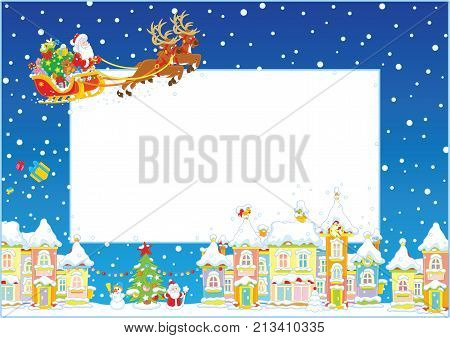Vector border frame with magic reindeers flying Santa Claus in his sledge on snowy Christmas night over a snow-covered town