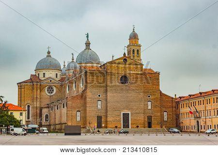 Basilica di Santa Giustina, Padova, Italy. Abbey of Santa Giustina is a Benedictine abbey in the center of the City of Padua. Basilica is located in the center of the square Prato della Valle.