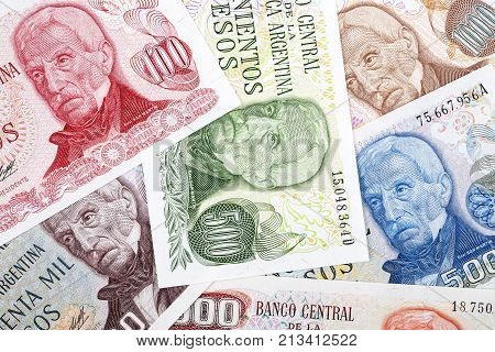 Argentinian Pesos, a background with Argentinian money