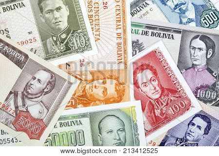 Bolivian Pesos, a background with Bolivian money