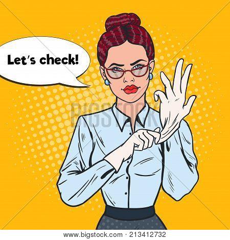 Pop Art Serious Female Inspector Wearing White Gloves. Professional Investigator. Vector illustration poster
