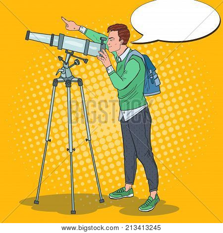 Pop Art Happy Man Looking Through a Telescope on the Sky. Astronomical Equipment. Vector illustration
