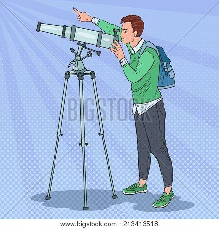 Pop Art Happy Man Looking Through a Telescope. Astronomical Equipment. Vector illustration