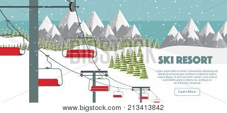 Ski resort mountaineering adventure, flat vector illustration. Ski hills panoramic background, winter leisure activities. Ski resort, Alps background. Swiss Alps, green fir trees, snow hills, winter background.