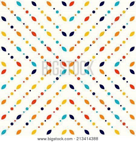 Abstract geometric pattern small spots and dots. Colorful particles on light ivory background. Seamless vector pattern. Abstract background.