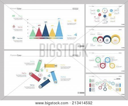 Infographic design set can be used for workflow layout, diagram, report, presentation, web design. Business and management concept with bar, cycle, flow, venn, process and percentage charts.