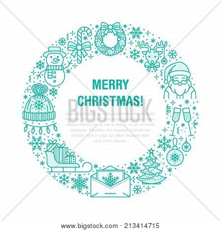 Christmas new year banner illustration. Vector line icon of winter holidays christmas tree, gift, santa claus, letter to santa, presents, wreath. Celebration party circle template with place for text.