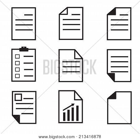 paper icon on white background. set paper icon. paper sign. flatstyle. document icon.file icon.