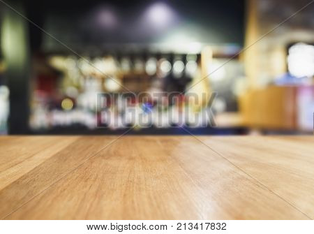Table Top wooden Counter Blur Bar Beer pub background