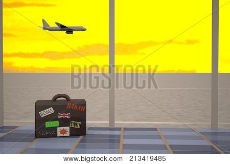 Airport Room With Travel Suitcase And Flying Airplane