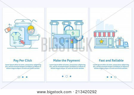 Web icons for e-commerce and Internet banking.Template for mobile app and web site. Modern blue interface UX UI GUI screen template for smart phone or web site banners.Modern thin linear stroke vector icons.Concept delivery service.