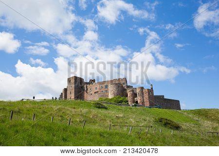 Medieval Bamburgh Castle Northumberland north east England UK
