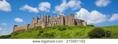 Bamburgh Castle Northumberland north east England UK panoramic view