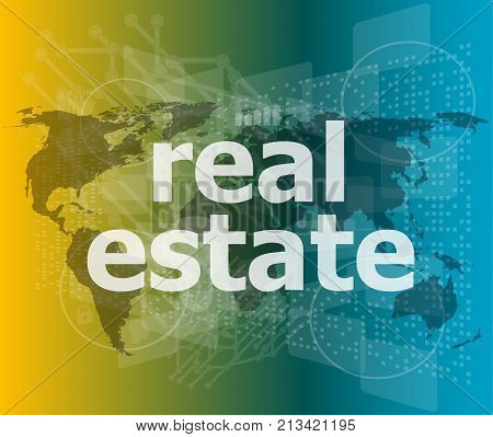 real estate text on business touch screen
