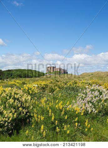Bamburgh medieval Castle Northumberland England UK in summer
