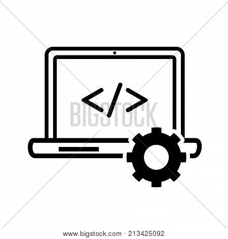 Computer programming icon iconic symbol on white background for Technology sign concept. Vector Iconic Design.