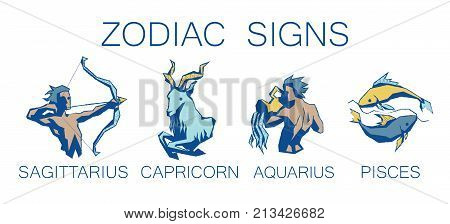 Collection of Zodiac Signs. Vector Illustration of Four Zodiacal Symbols in Faceted Grunge Style on White Background. Sagittarius, Capricorn, Aquarius, Pisces. Future Telling, Horoscope, Spirituality, Mystery, Constellations.
