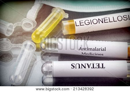 Some vials with samples of contagious diseases in a clinical laboratory