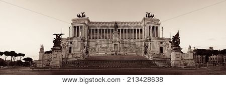 National Monument to Victor Emmanuel II or II Vittoriano in Piazza Venezia, Rome, Italy with street panorama view.