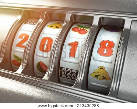 Happy New Year 2018 in casino. Slot machine with number 2018. 3d illustration