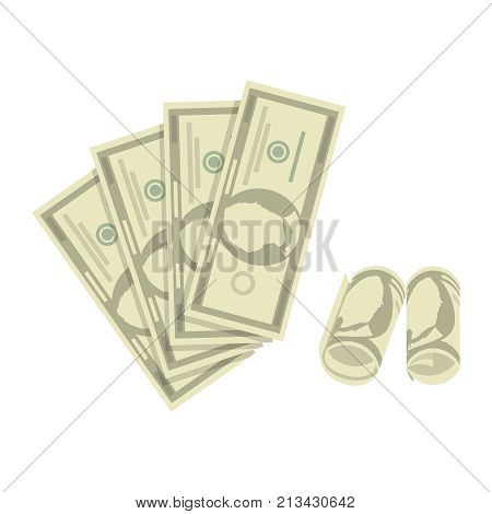 Banknotes of dollars in a twisted and decomposed form. The concept of profit. Vector illustration.