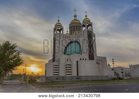 Sunset scene with the Patriarchal Cathedral of the Christ Resurrection. Kiev Ukraine