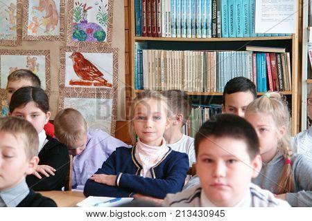 CHAPAEVSK, SAMARA REGION, RUSSIA - NOVEMBER 26, 2017: Grammar school in city Chapaevsk. Schoolchildren in classroom