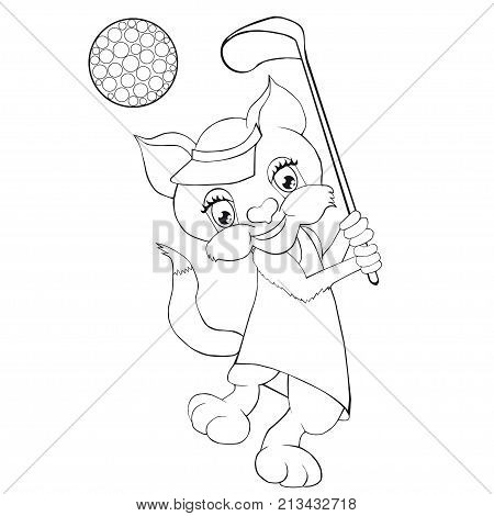 Coloring book  cat playing golf. Cartoon style. Clip art for children.