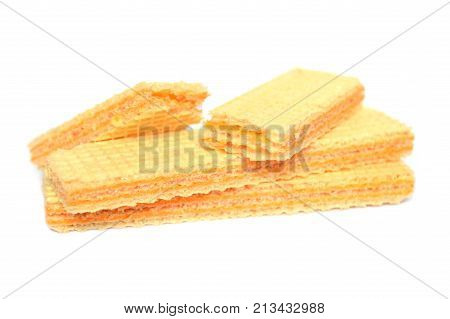 Cheese flavored wafer snack on white background