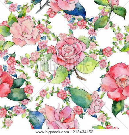 Wildflower camellia flower pattern in a watercolor style. Full name of the plant: camellia. Aquarelle wild flower for background, texture, wrapper pattern, frame or border.