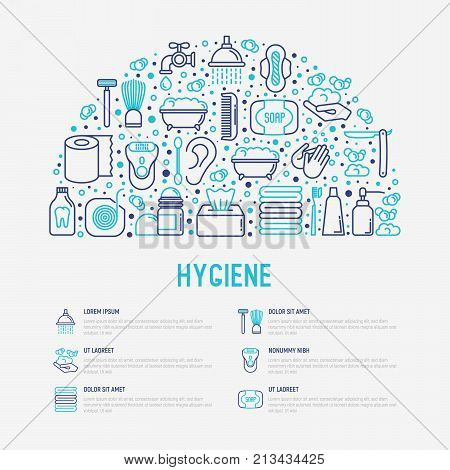 Hygiene concept in half circle with thin line icons: hand soap, shower, bathtub, toothpaste, razor, shaving brush, sanitary napkin, comb, ball deodorant, mouth rinse. Vector illustration. poster