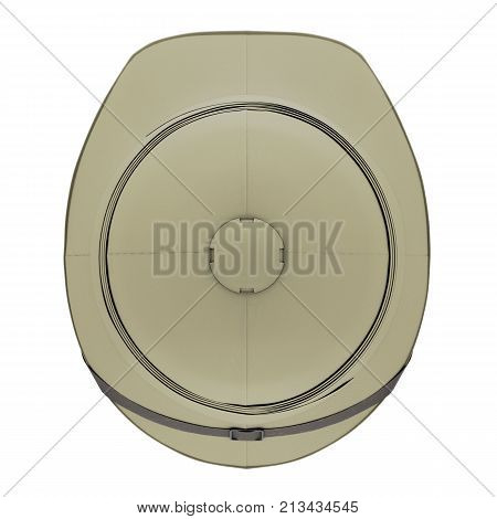 Classic Cork Pith Helmet. Top view. Equipment for safari or explorer. Research and discover. 3D render Illustration isolated on a white background.