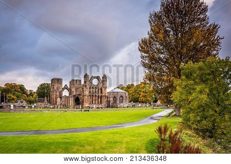 Elgin Cathedral in Autumn, a medieval ruin was built on the banks of the River Lossie in the thirteenth century