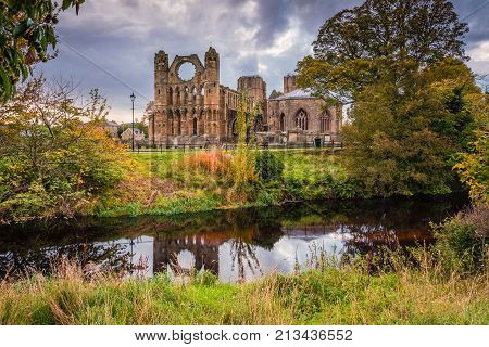 Elgin Cathedral above River Lossie, a medieval ruin was built on the banks of the River Lossie in the thirteenth century