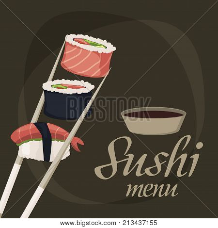Sushi rolls sashimi seafood fish rice japanese food fresh soy sauce japan meal maki raw restaurant traditional asian cuisine background vector illustration. Gourmet healthy wasabi seaweed appetizer.