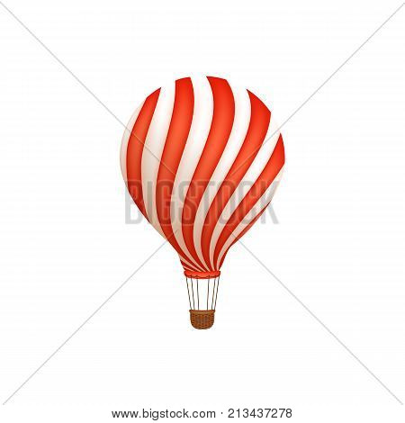 Hot air balloon ride in amusement park, flat style icon, vector illustration isolated on white background. Flat icon, illustration of hot air balloon ride in amusement park, entertainment concept
