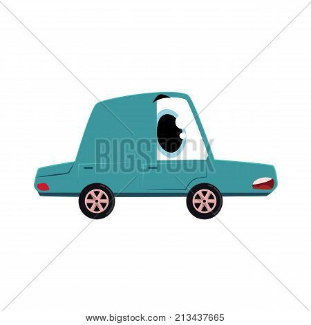 vector flat cartoon funny car character with eyes feels itself sick, ill and anxious. Isolated illustration on a white background. Vehicle needs mechanical treatment