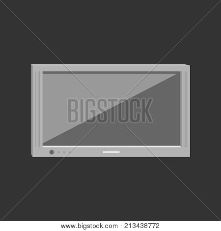 A modern ultrathin plasma TV. On a black background. Vector illustration. Business concept.