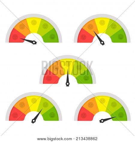 Customer satisfaction meter. Different emotions tool to know and improve customer service mangement. Vector flat style cartoon illustration isolated on white background