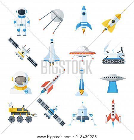 Space vehicle set. Rocket-powered vehicle with satellites, spacecraft transport. Vector flat style cartoon illustration isolated on white background