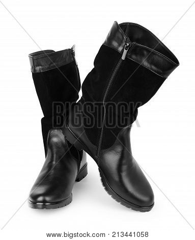 Woman's footwear in black colour isolated on white background