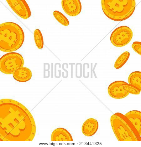 Bitcoin Falling Explosion Vector. Flat, Cartoon Gold Coins Illustration. Cryptography Finance Coin Design. Fintech Blockchain. Currency