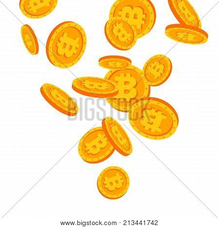 Bitcoins Falling Down Vector. Flat, Cartoon Gold Coins Illustration. Cryptography Finance Coin Design. Fintech Blockchain. Currency Isolated
