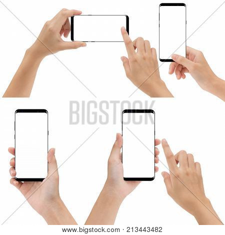 hand holding and touching phone mobile set isolated on white background
