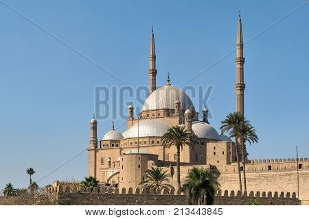 The great Mosque of Muhammad Ali Pasha (Alabaster Mosque) situated in the Citadel of Cairo Egypt commissioned by Muhammad Ali Pasha 1830 - 1848 one of the landmarks of Cairo