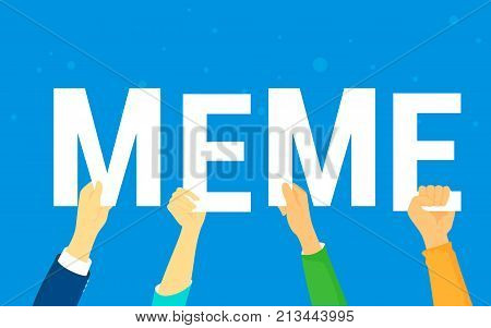 Meme letters concept vector illustration of happy young people following internet trends, reposting and publishing new trends in social network. Flat human hands hold meme letters on blue background