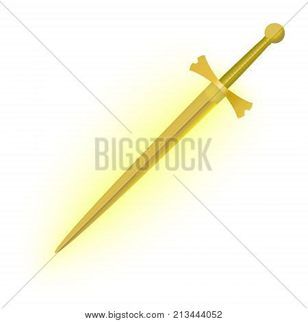 Realistic medieval sword. Yellow sword glowing with yellow radiance poster