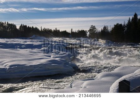 Ice waterfall Storforsen in the north of Sweden