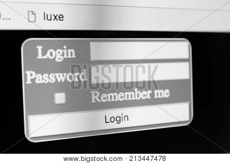 Log-in form on computer screen